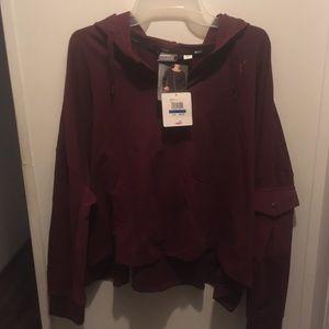 Dark purple/ burgundy cropped full zip hoodie